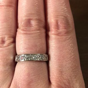 Silver band with simulated diamonds size 8